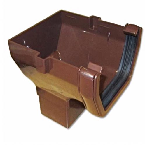 Square Gutter Stop End Outlet Floplast Brown ROS2